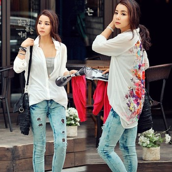 New 2013 Fashion Western Retro flower print Casual Loose Long Sleeve Chiffon Blouse Shirt Top Women's 35