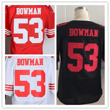 Free shipping Mens 49ERS 53 NaVorro Bowman  Elite Football Jerseys Color Black Red White Size M-3XL Best Quality