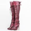 Stylish Women Knee High Boots Nice Pointed Toe Thin Heels Boots Cool Wine Red Shoes Woman