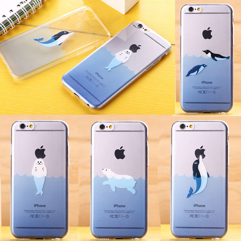 Free Shipping New Cover for IPhone Ocean Animal Lovely Dolphin Clear Soft Gel Cover Case For IPhone 5 5s 6G 6Plus(China (Mainland))