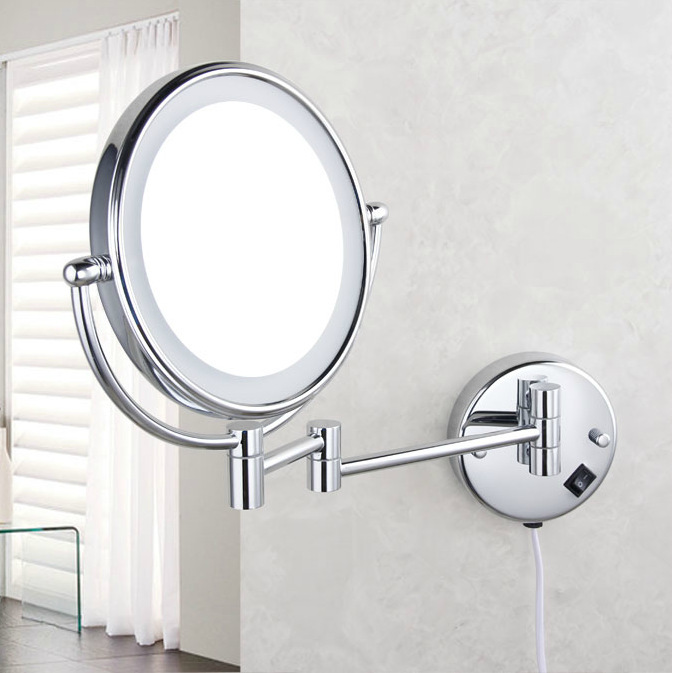 Professional makeup mirror with light 8 Inch led compact cosmetic mirror lady's 3X Double Sided magnifying espelho bath mirror(China (Mainland))