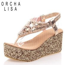New High heel platform Gold silver Sandals Rhinestone Glittering Party Summer shoes for women Fashion Casual Gold silver(China (Mainland))