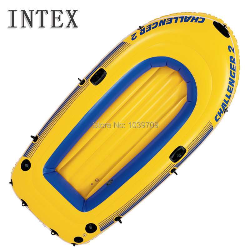 intex Challenger 2 person inflatable fishing boat inflatable kayak , 236*114*41cm,122cm plastic oar and pump, repair patch(China (Mainland))