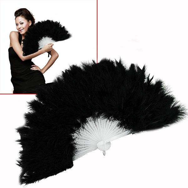 Fluffy Soft Feather Costume Hand Held Folding Fan Black(China (Mainland))