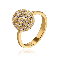 Men 18K Golden Ball Rings Cool zirconia Ouro anel with gift box  for Anniversary Party  R610-1 Fashion Jewelry(China (Mainland))