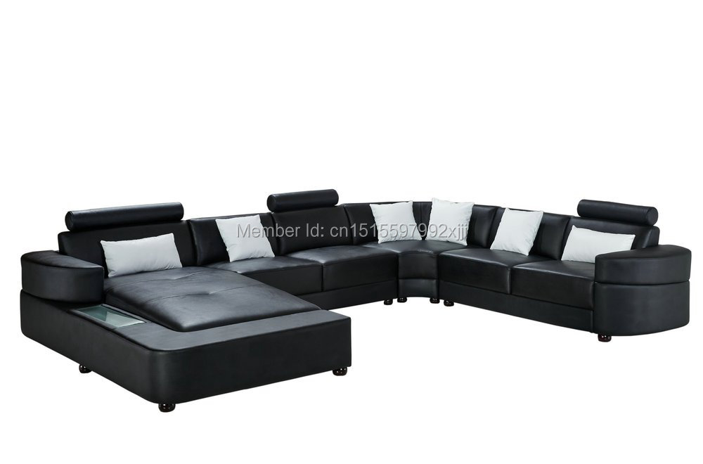 black color U shaped geniune cow leather home furniture sectional sofa 2212<br><br>Aliexpress