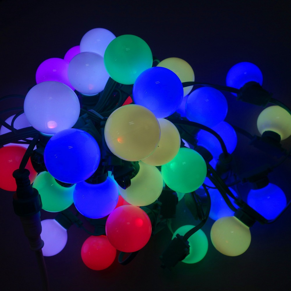 LED G40 addressable WS2811 DC12V 8mm technicolor pixel string;50nodes/strand;all GREEN wire and case;IP67(China (Mainland))