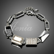 Simple and Elegant White Gold Plated Stellux Austrian Crystal Chain Bracelet Wholesale FREE SHIPPING (XH053)(China (Mainland))