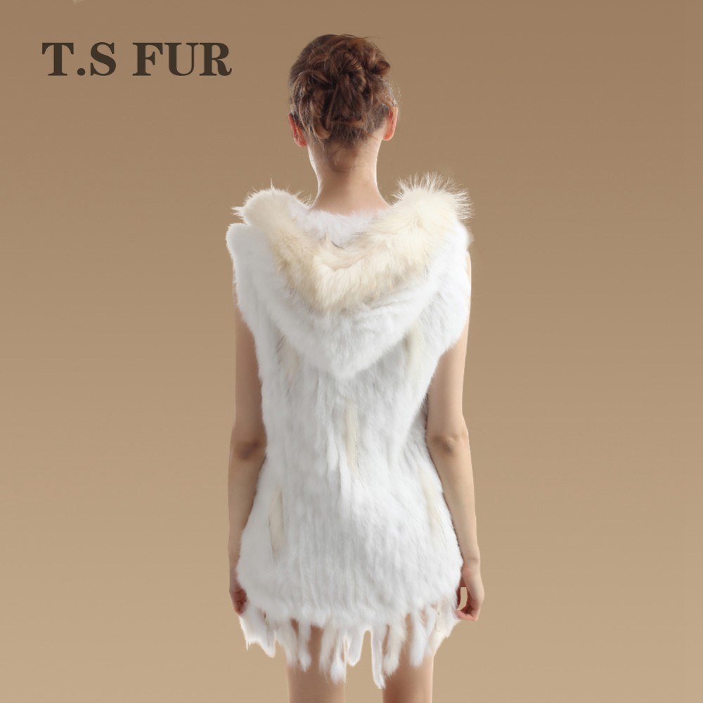2016 New Genuine Rabbit Fur Vest With hood Real Raccoon Fur Waistcoats Women Long Knitted Rabbit Fur Sleeveless Coat Outwearr