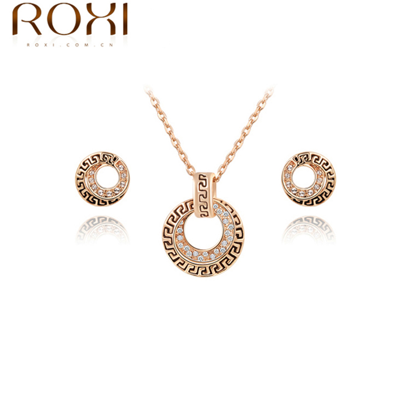 Hot Sell Top Quality Antique Gold Plated Earrings+Necklace Suits ELEMENT Austrian Crystal Jewelry Sets #2070021690(China (Mainland))