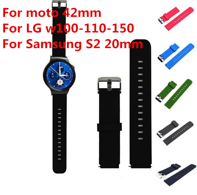 Sports Silicone Classic Watch Band Strap For Samsung S2 For MOTO2 For LG w100-110-150 For HUAWEI Smart Watch +Ear Bar + Tool(China (Mainland))