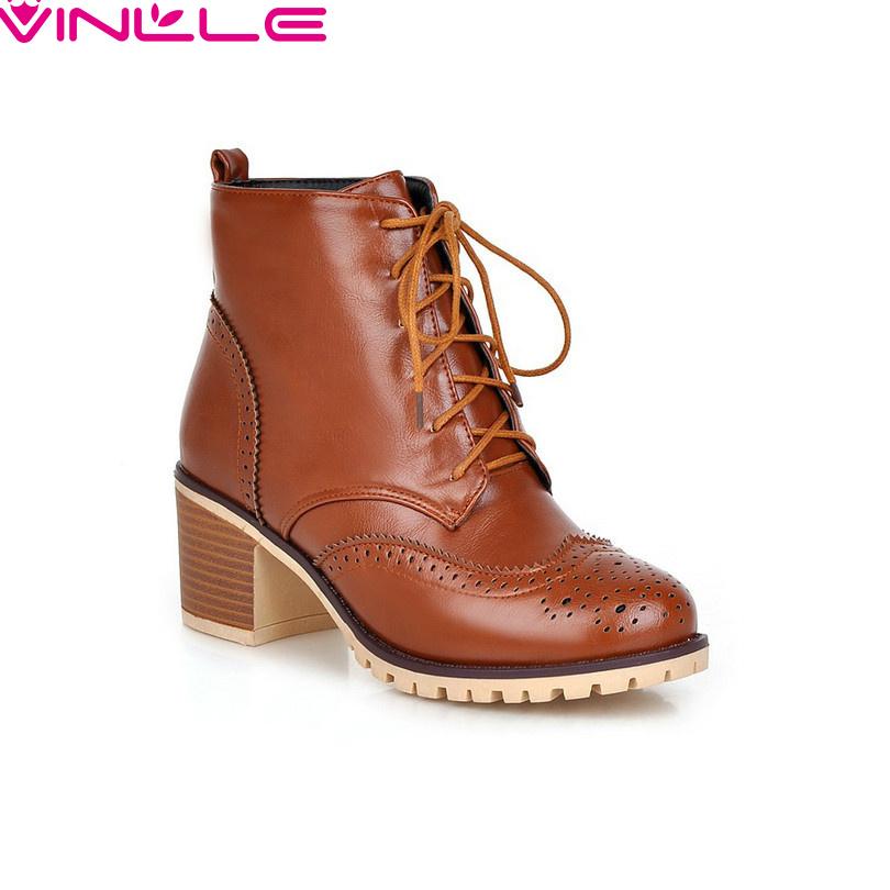 VINLLE women boots Fashion winter boots shoes women female autumn women's martin boots women boots fashion shoes size 34-43