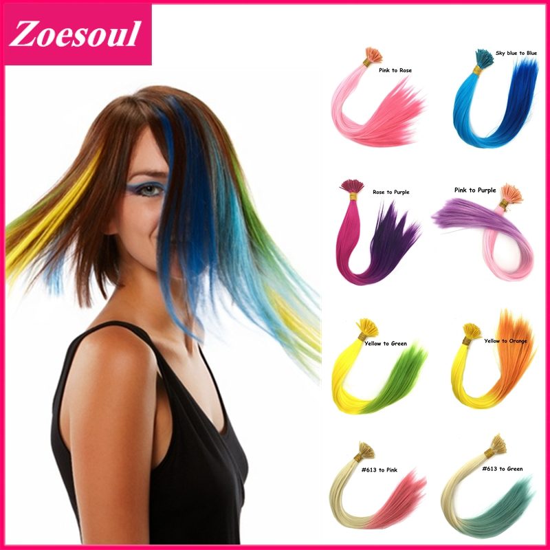 1000pcs/lot 2 Tones Ombre Hair Extension 16inch Long Rainbow Loop Wholesale Grizzly Hair Extensions I Tip Hair Extensions(China (Mainland))