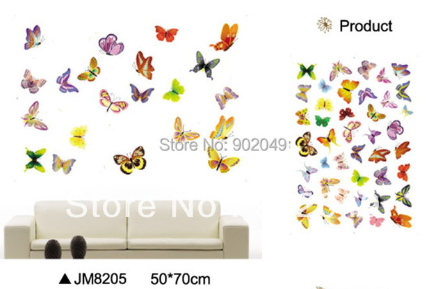 New 50x70cm Removable wall stickers butterfly colorful glass cabinets decorative decal window sticker - door label KW- JM8205