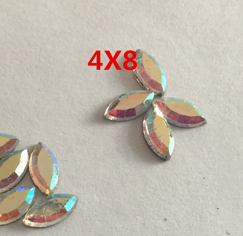 144PCS 4*8MM AB Color Horse eye Acrylic Rhinestones Crystal Flat Back Beads iron On Stones For Clothing Craft Decoration(China (Mainland))