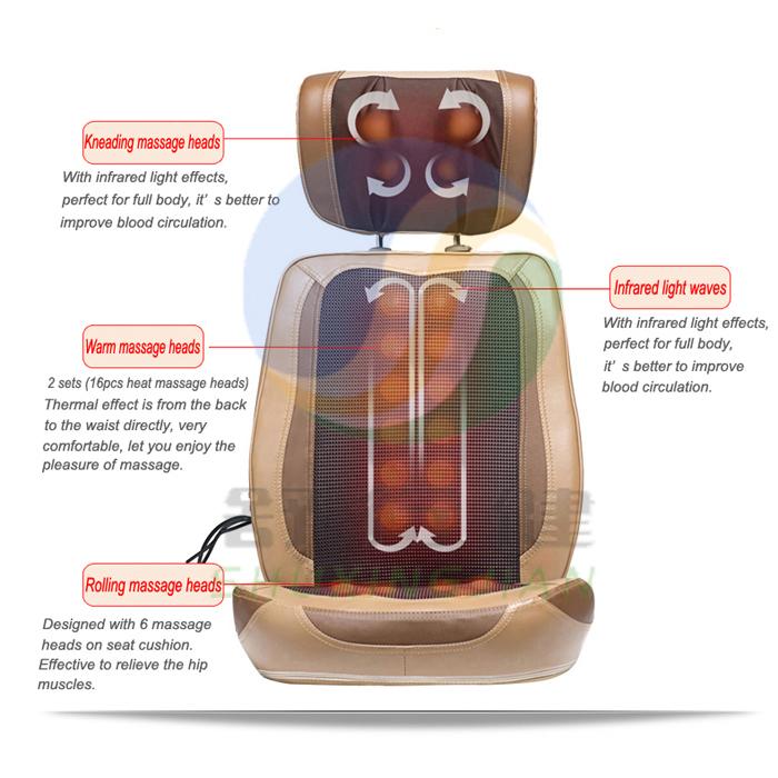 838-9H Infrared heat kneading full body neck and back electric shiatsu massage cushion(China (Mainland))