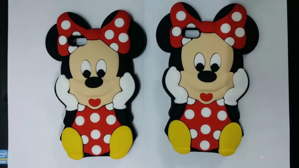 10pcs/lot 3D Cute Cartoon With Bow Minnie Mickey Silicone Case for Samsung Galaxy Trend Duos S7562 S7560 Trend Plus S7580