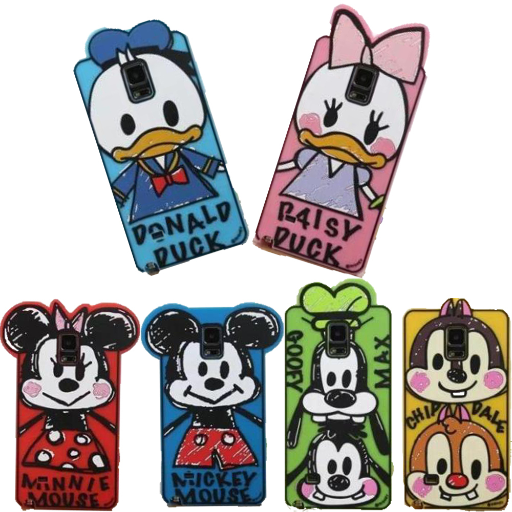 Super Cute 3D Daisy Cartoon Graffiti Mickey Minnie Mouse Donald Duck Silicone Funda Case Cover For Samsung Note 4 3 2 Capa Para(China (Mainland))