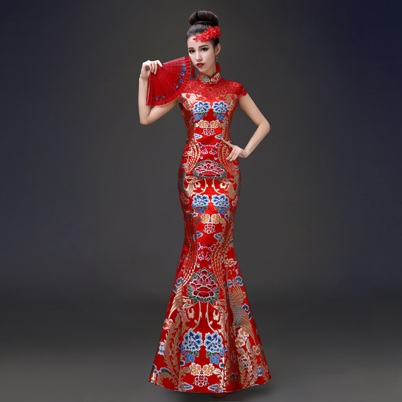 Здесь можно купить  2015 New Chinese Retro Red Clothes Bride Toast A Long Paragraph Slim Sexy Cheongsam Dress Long Fengpao Fish 2015 New Chinese Retro Red Clothes Bride Toast A Long Paragraph Slim Sexy Cheongsam Dress Long Fengpao Fish Одежда и аксессуары