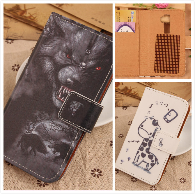 Mobile phone skin protective pouch Flip cover Leather case for IRulu Universe 2 U2 5 with Magnetic Buckle Cartoon Drawing style(China (Mainland))