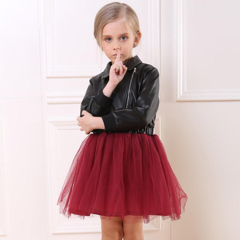 Здесь можно купить  Hot New Cool Baby Girl Pilot Patchwork Leather Dresses Spring Autumn Princess Dress Vetement Fille Costumes For Kids  Детские товары