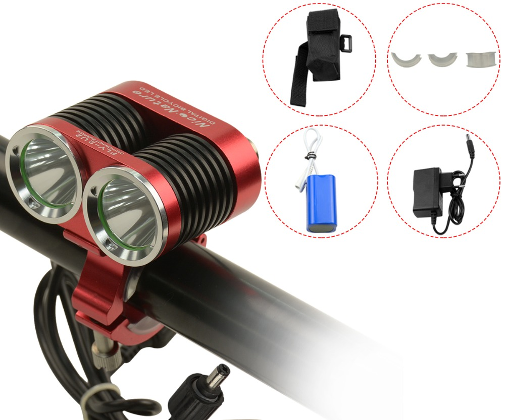 8.4V 2200LM CREE XML U2 LED Bicycle motorcycle Light Head Lamp Waterproof Headlight Headlamp & 12000mA battery pack charger