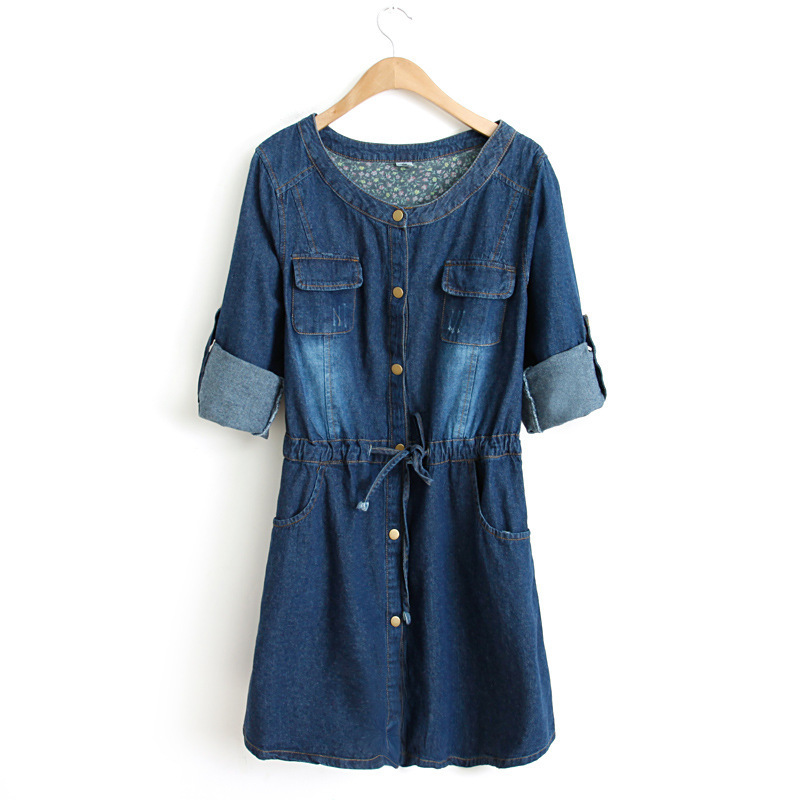 Yh87 European Style Fashion Slim Long Sleeve Blue Belt Casual Winter Denim Dress Vintage Women