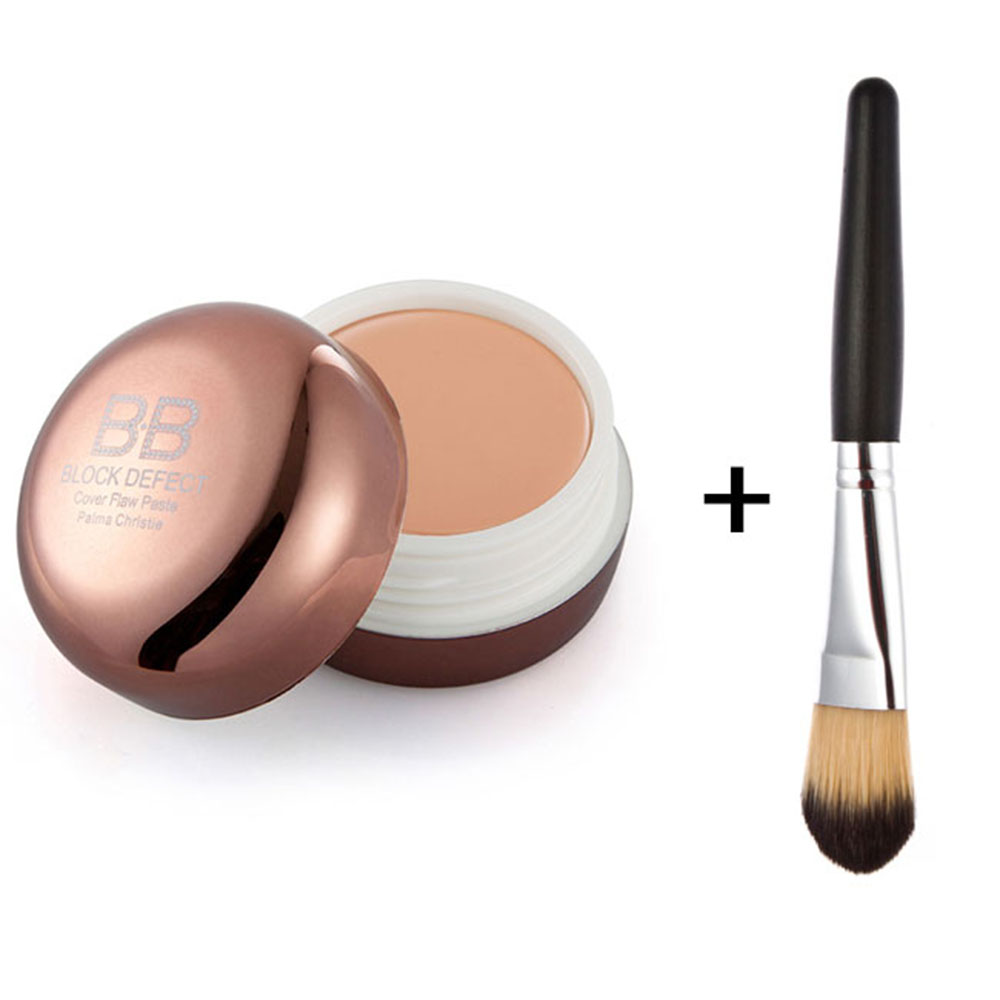 High Quality 1Color Concealer and 1 Foundation Brush Facial Face Cream Care Camouflage Makeup base Palettes set Cosmetic(China (Mainland))