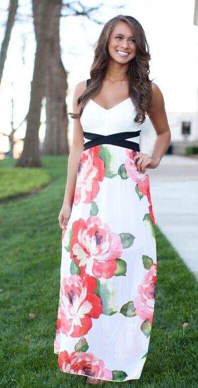 Женское платье Chiffon floral print beach dress Siebel 2015 emprie LYB0073 женское платье print long beach dress 2015 d v g s xxl mf040201