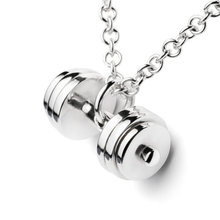 Hot Sale Sterling silver DUMBBELL necklace fitness jewelry charm Pendant gym fitness accessory crossfit barbell workout jewelry