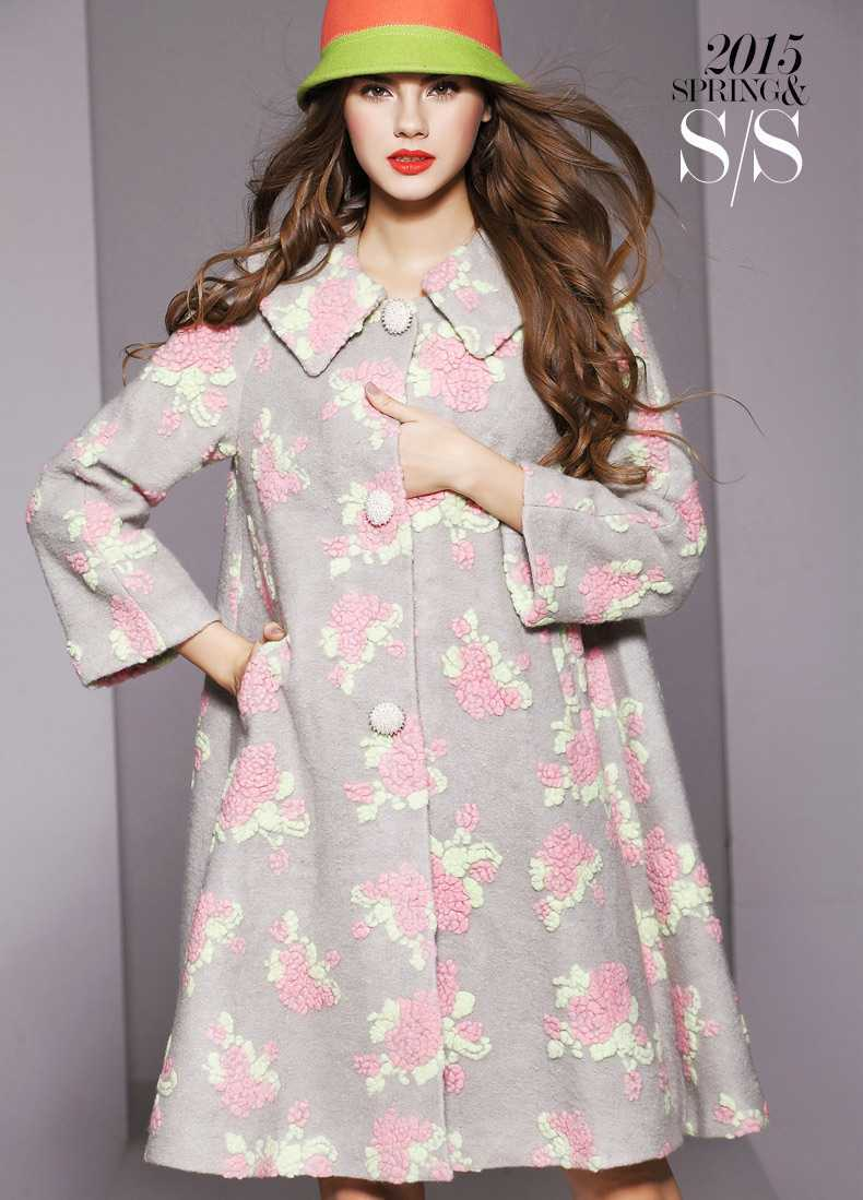 New 2015 Women Long Sleeve Flower Wool Coats Fashion Ladies Winter Autumn A-Line Wool Overcoat Woman Long Loose Outerwear H4565Одежда и ак�е��уары<br><br><br>Aliexpress
