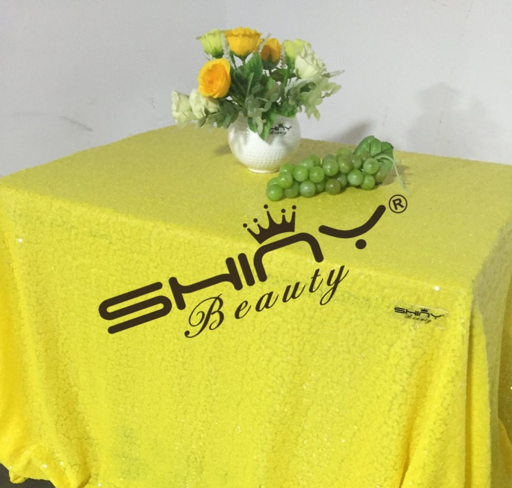 SALE 50''x50'' Yellow Sequin Tablecloth Wholesale Yellow Sequin Table Linens For Chrildren Birthday Decoration(China (Mainland))