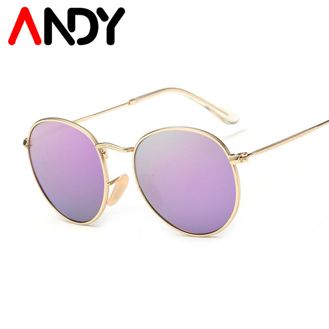 ANDY Fashion Women Round Polarized Sunglasses Classic Brand Designer Female Sun glasses Coating Mirror Glasses Oculos UV400(China (Mainland))