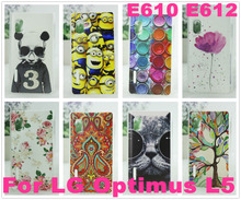 10 Patterns High Quality e612 Case Cover / Colored Paiting case for LG Optimus L5 E610 E612 Free Shipping
