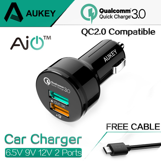 [Qualcomm Quick Charge 3.0]Quick Charge 2.0-Compatible AUKEY 34.5W USB Car Charger; for Galaxy S6 / Edge / Plus, Note 5 / 4