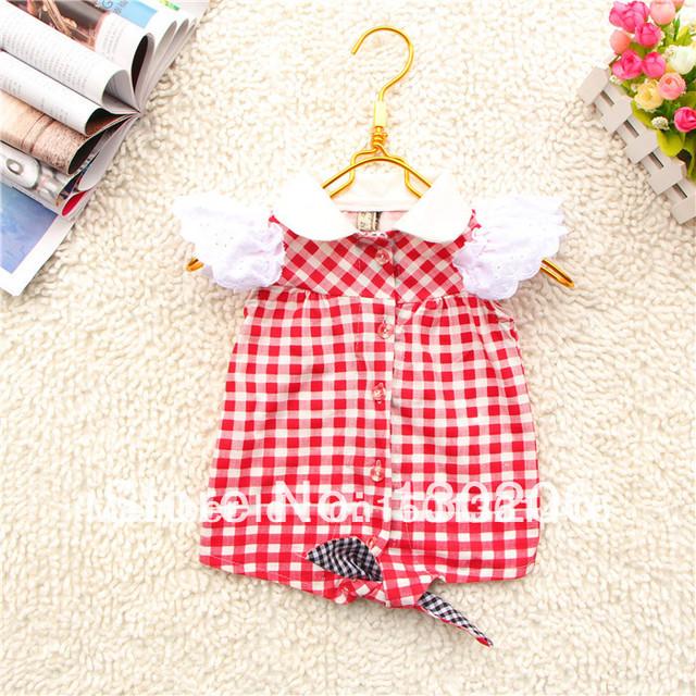 Girls red plaid shirt 2014 summer Korean version of the new fashion style cute baby cardigan jacket children T-shirts