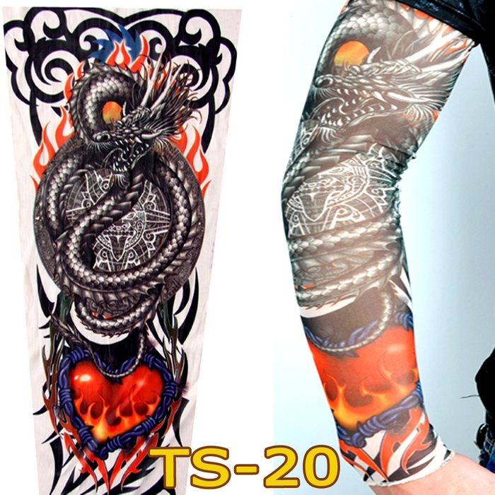Free Shipping 2 PCS 2015 New Fashion Dragon Fire Heart Fake Tattoo Sleeves Arm Leg For Women/Mens,More 140 Styles Can Choose(China (Mainland))
