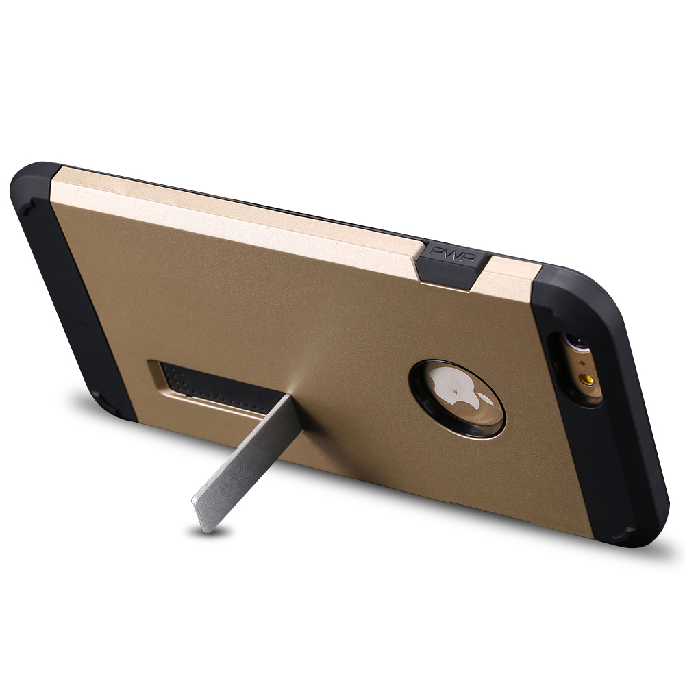 Luxury TPU + PC Hybrid Dual Case For iPhone 6 Plus 5.5inch Stand Display Back Protective Skin Shell Cover With Brand LOGO Hole(China (Mainland))