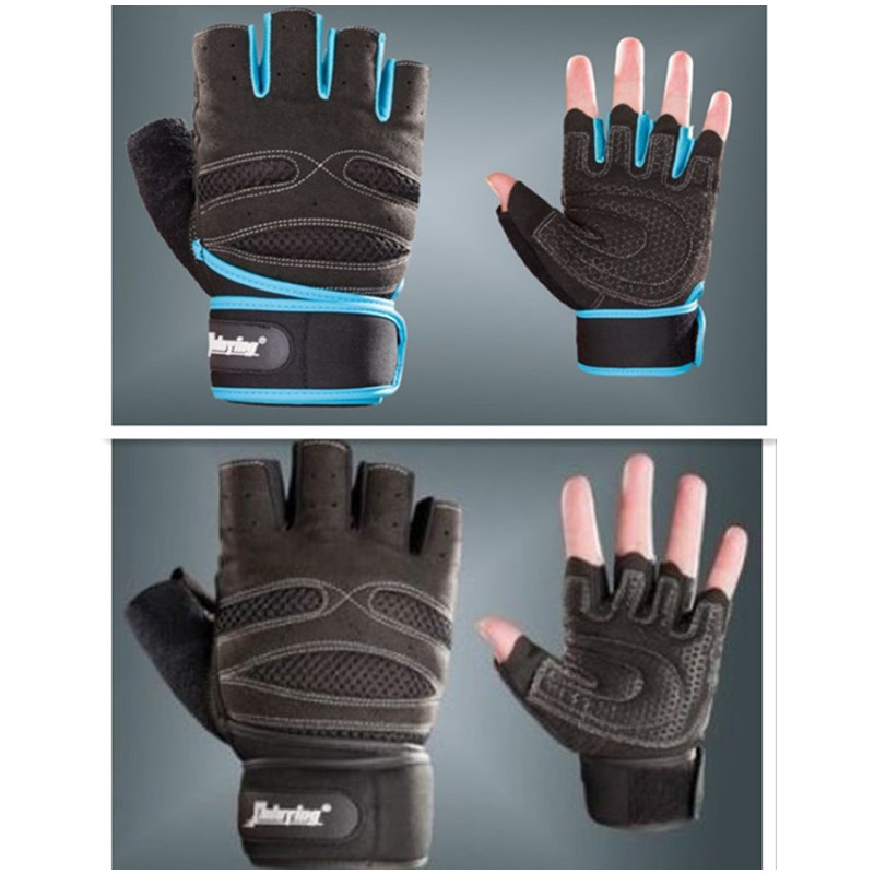 Gym Body Building Training Fitness Gloves Sports Weight lifting Workout Exercise Half finger Bicycle Breathable Long Wrist Wrap(China (Mainland))
