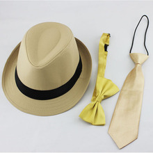 Retail Kids Trilby Fedora Hat with Bowtie and Necktie Set Baby Jazz Cap with Ties Children Acting Cap Top Hat Gangster Hat FH024(China (Mainland))