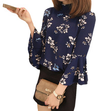 Buy Inngraee 2017 Women New Shirt Vintage Flare Sleeve Chiffon Blouse Female Office Wear Floral Printed Tops Tees Blusas NS8476 for $7.39 in AliExpress store