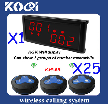 25 H3-BB bells and 1 K-236 display receiver,easy and simple to handle Wireless paging system for restaurant