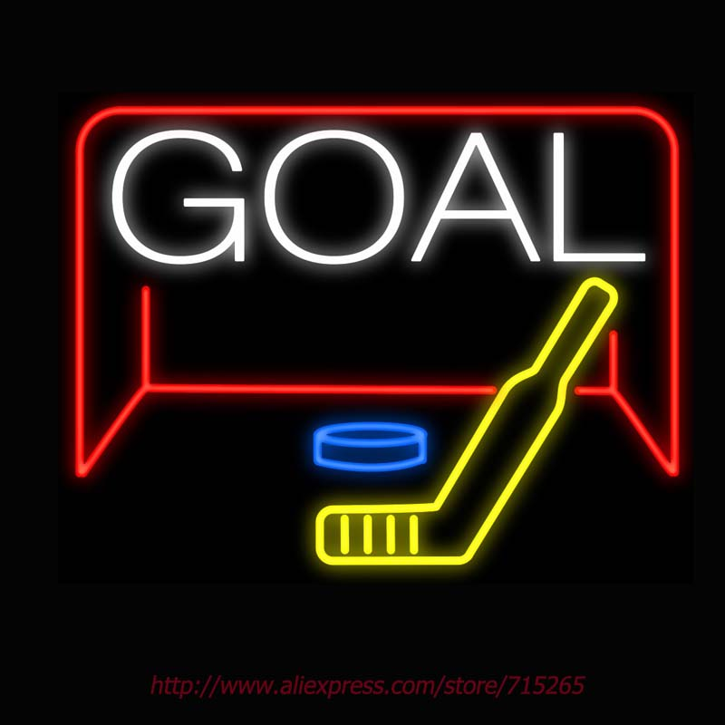 Neon Sign Hockey Goal Real Glass Tube Handcrafted neon signs Custom LOGO Sports Neon Lamp Recreation Windows Signs 31x24(China (Mainland))