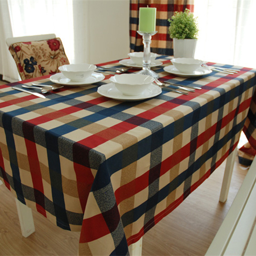 European style linen cotton tablecloth handmade plaid rectangle round table cloth dinner coffee table covers flags for wedding(China (Mainland))