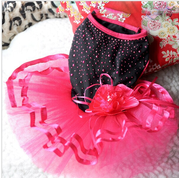 Pet Dog Cat Bling Red&Black Tutu Dress Lace Skirt Puppy Clothes Dog Party Dress(China (Mainland))