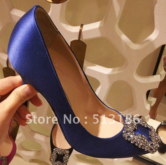 New Brand Women Sexy Blue Satin Pumps Luxury Crystal High Heels Diamond Wedding Shoes 2012(China (Mainland))