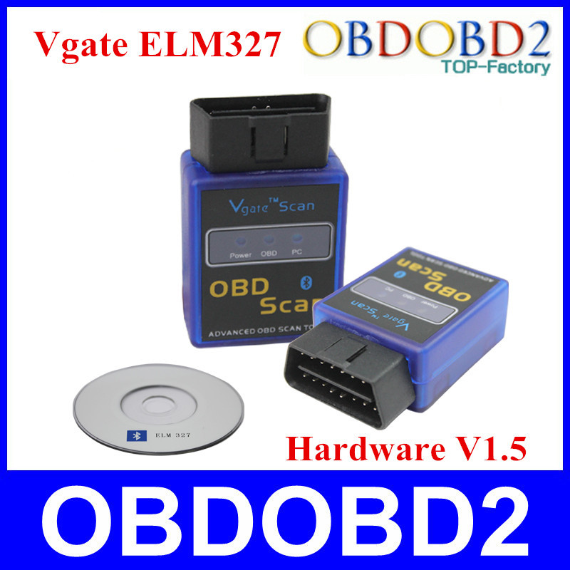 Factory Price Mini ELM327 OBD2 Diagnostic Tool Vgate ELM327 V1.5 Bluetooth Support Android and Symbian With 3 Years Warranty(China (Mainland))