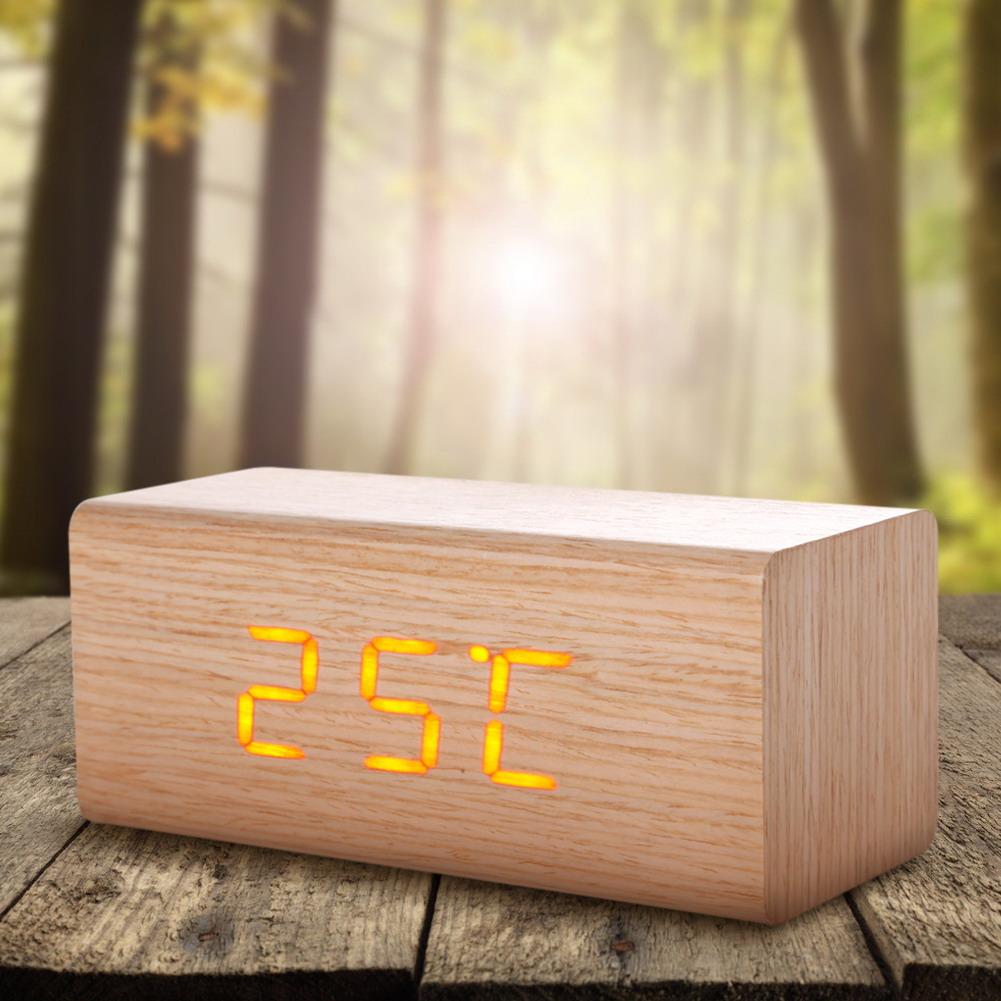 High Quality Digital LED Alarm Clock Sound Control Wooden Despertador Desktop Clock USB/AAA Powered Temperature Display NVIE(China (Mainland))