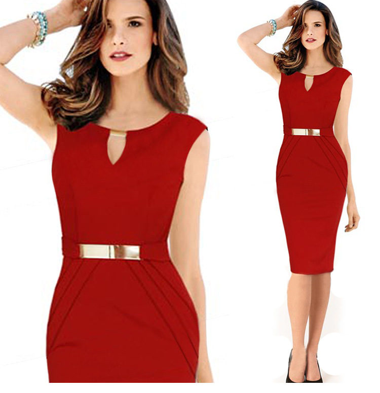 Bodycon Casual Dress Womens Dresses Summer 2015 Midi Plus Size XL 2XL Sleeveless Ladies Office Keyhole Vestidos Femininas - Online Store 430544 store