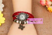 Promoción! Watch Vintage largo correa de cuero Casual relojes Bowknot cristal de reloj del vestido para mujer de bronce del cuarzo relojes envío gratis